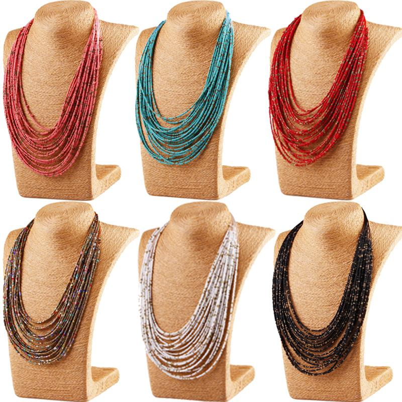 1pc Bohemian Style Long Necklace Handmade Beads Chainbone Chain Vintage Ethnic Necklaceintothea-intothea