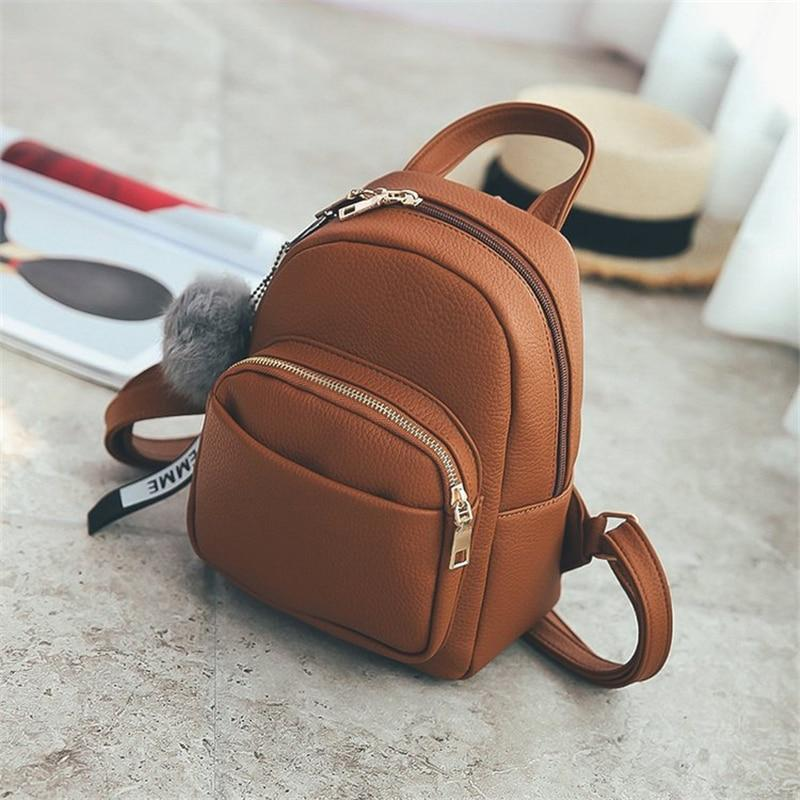 Miyahouse Female Soft PU Leather Mini Backpacks Students Fuzzy Ball Pendant Shoulderintothea-intothea