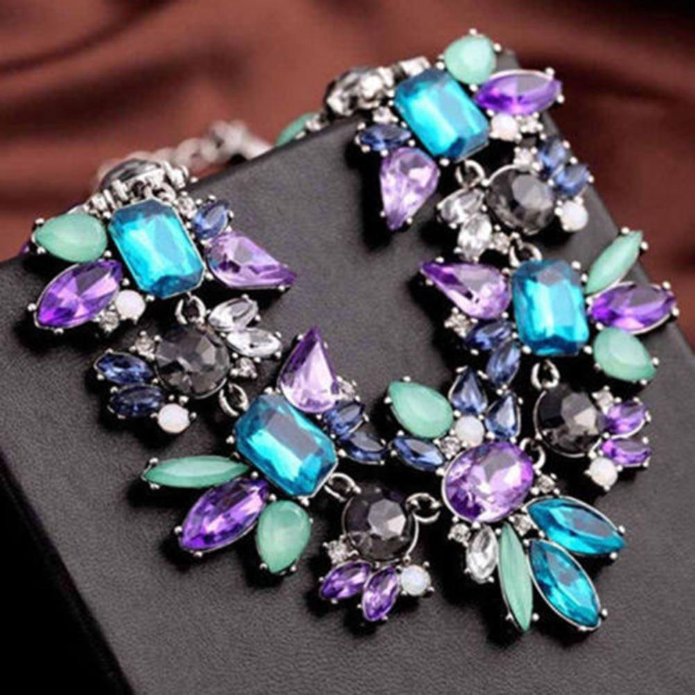 Women Fashion Jewelry Statement Bib Collar Colorful Rhinestone Chain Necklaceintothea-intothea