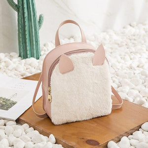 Cute Women Backpacks Plush Fox Backpacks 3D Ear Small Shoulder Backpack Miniintothea-intothea