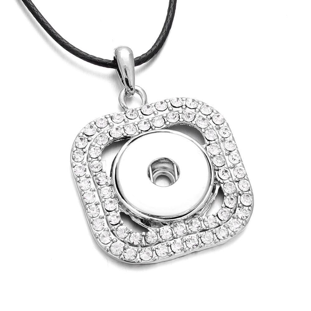 Hot Sale Snap Necklace Full Rhinestone Square Pendant Silver Color fit 18mmintothea-intothea