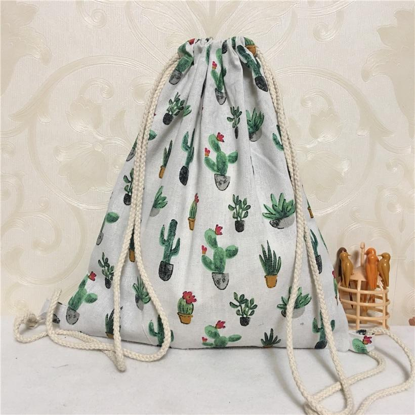 YILE Cotton Linen Drawstring Eco Backpack Student Book Bag Print Potted Cactusintothea-intothea