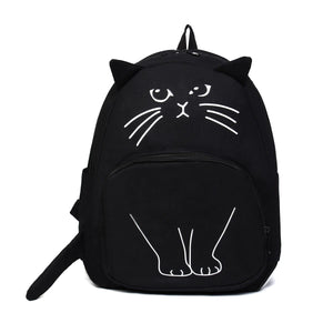 Women Cute Cat Backpack Black Canvas School Bag For Teenage Girlsintothea-intothea