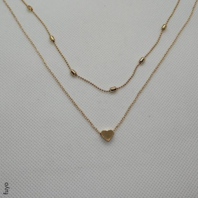 Gold Silver Star Heart Necklace Moon Coin Tassels Bar Necklaces Imitation Pearlintothea-intothea