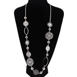 Vintage fashion long necklaces for women Bohemian Jewelry Flower Alloy Layered Statementintothea-intothea