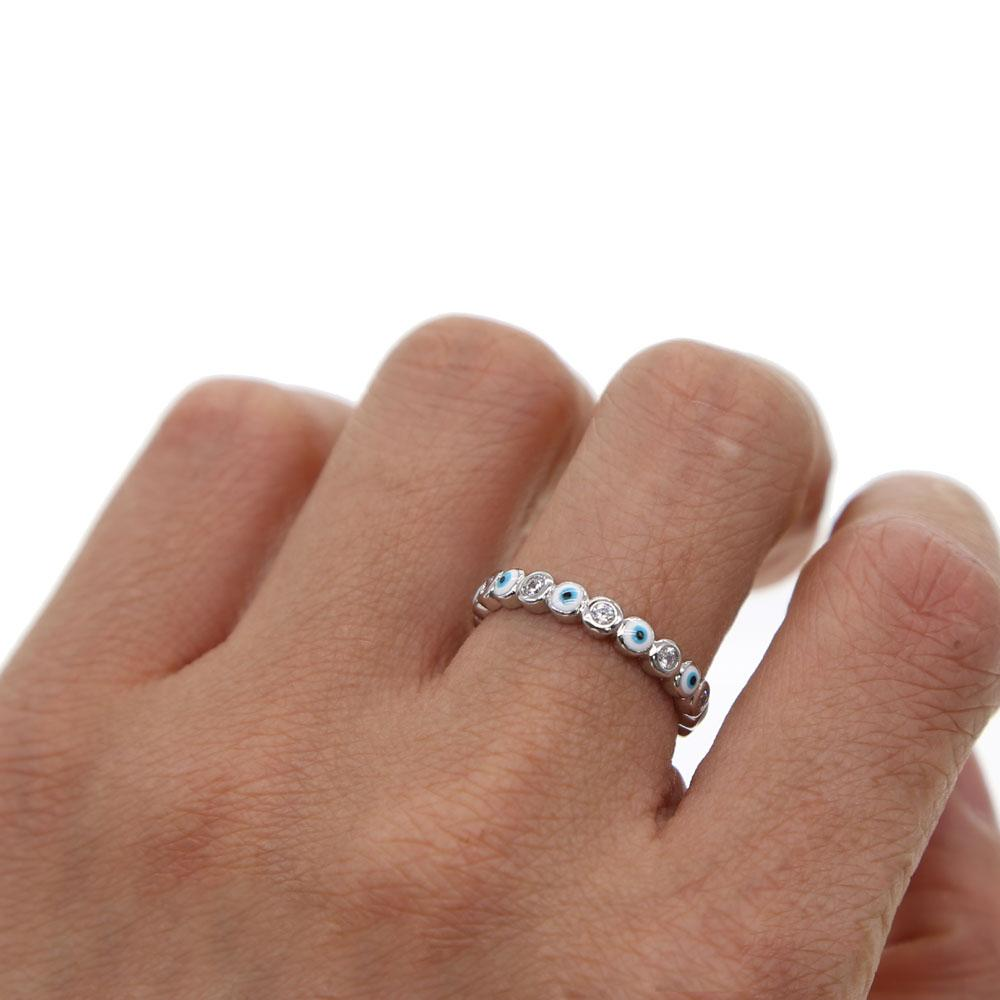 SILVER color 2018 lucky evil eye cz eternity ring band engaement bandintothea-intothea