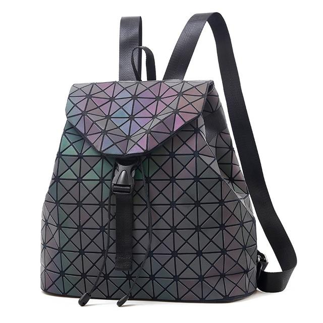 Women Laser Luminous Backpack Geometric Patchwork Diamond Lattice Drawstring Fold Backpack Teenageintothea-intothea
