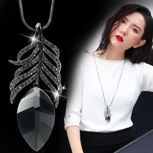 Brand Leaf Pendant Necklace Black Gun Plated Long Chain Rhinestone Crystalintothea-intothea