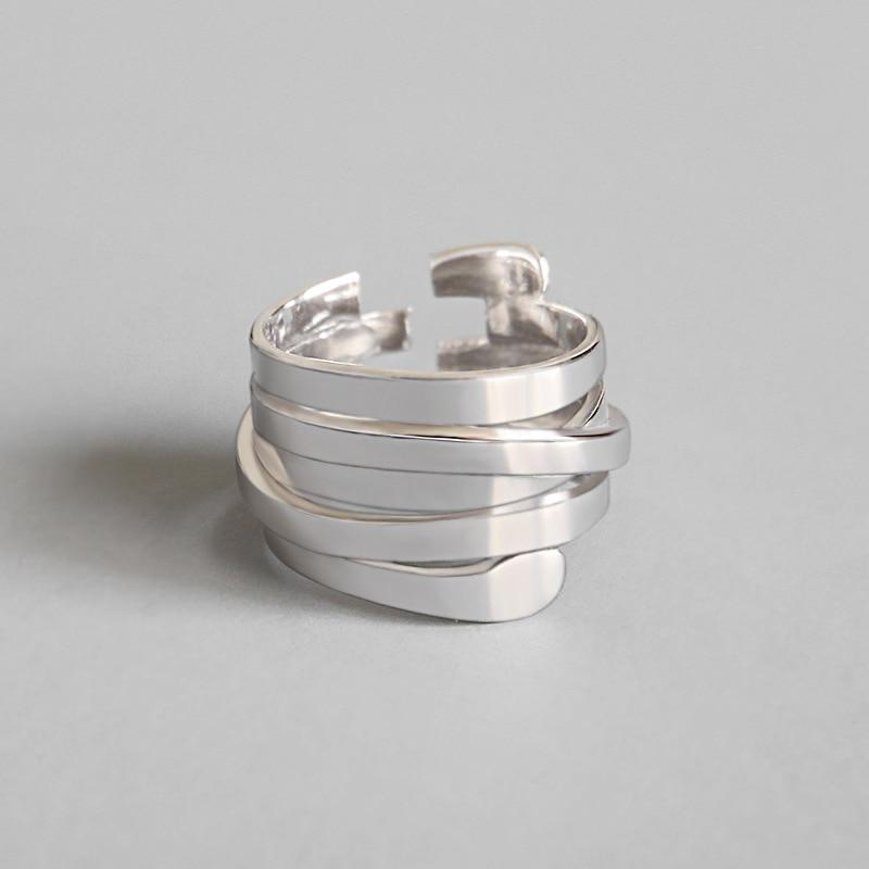 LouLeur 925 sterling silver Multi-layer winding rings silver fashion personality open ringsintothea-intothea