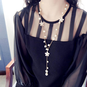 2018 New Romantic flower tassel sweater chain long Korean female long necklaceintothea-intothea