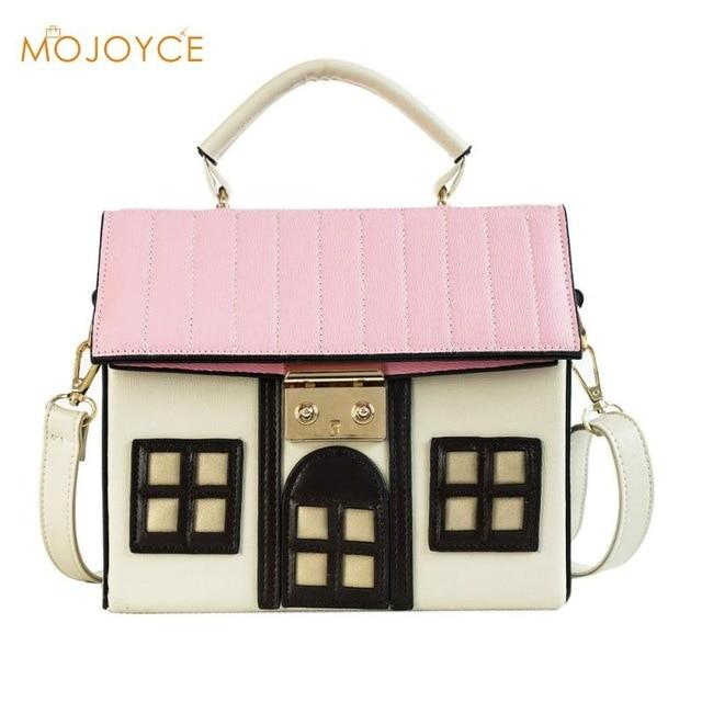 Women Personality House Shaped Messenger Bags PU Leather Crossbody Bag for Ladiesintothea-intothea