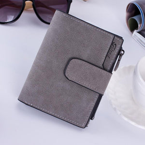 Brand Design Leather Lady Short Clutch Wallet Solid Vintage Matte Women Walletintothea-intothea