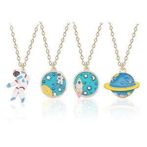 Cartoon Plant Animal Necklaces Pendants Enamel Mermaid Fox Cat Rabbit Planet Heartintothea-intothea