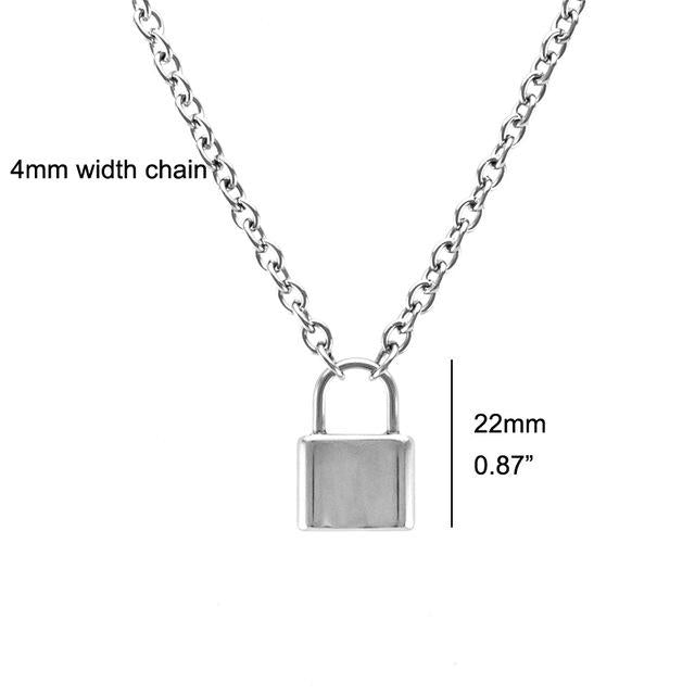 Women Jewelry Silver Color PadLock Pendant Necklace Brand New Stainless Steel Rolointothea-intothea