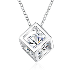 GIEMI Wholesales Jewelry 925 Sterling Silver Necklaces Square Pendant Cubic Zirconia CZintothea-intothea