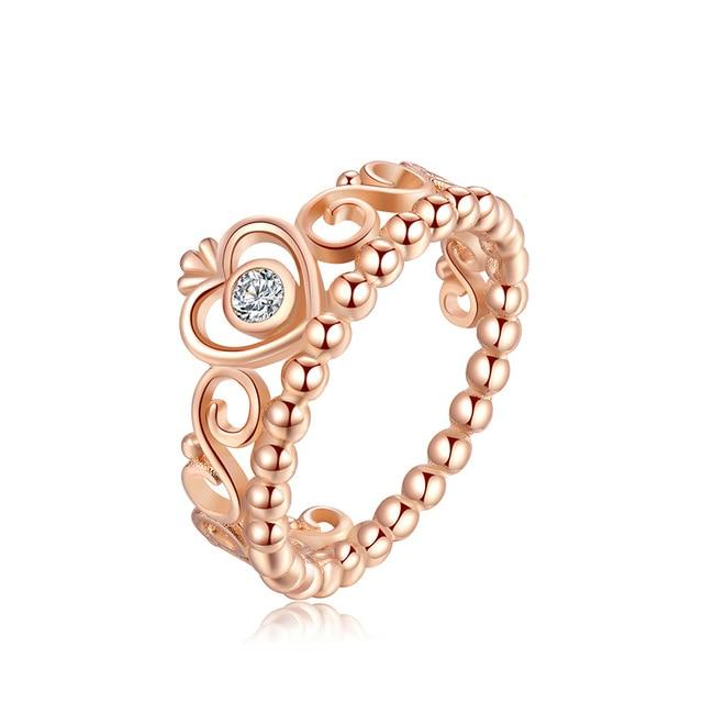 925 Silver Ring Charm Women Princess Crown Heart Enamel Big Stone Crystalintothea-intothea