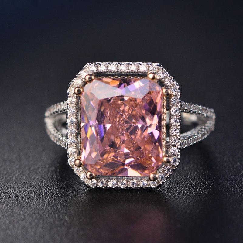 Fashion Pink Spinel Finger Rings For Women Romantic Gemstone Wedding Ring 925intothea-intothea