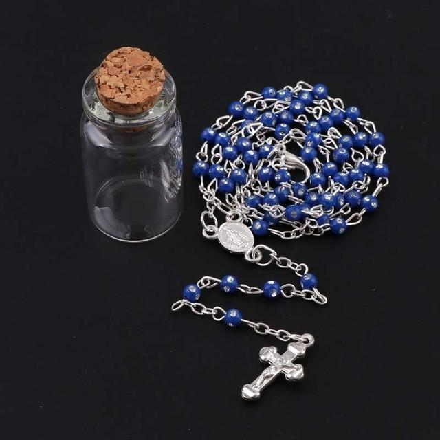 New 4mm Wishing Bottle Colorful Rosary Beads Necklace With JESUS Cross Pendantintothea-intothea
