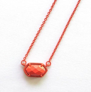 Fashion Small Oval Faceted Painted Stone Pendant Necklace Jewelryintothea-intothea