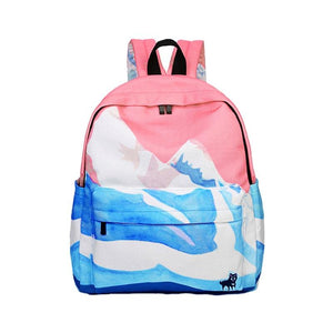 Pink Printing Canvas Women School Backpack Female Schoolbag Backpack School Bags Forintothea-intothea