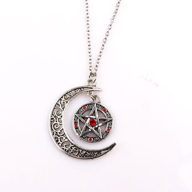 Supernatural Witch Protection Pentagram Amulet Necklace Red Black Crystal Leather Rope Womenintothea-intothea