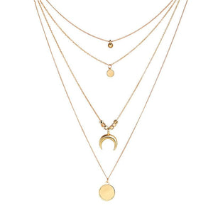 2018 Fashion Long Necklace Women Jewelry Moon Round Pendant Multi Layer Necklaceintothea-intothea