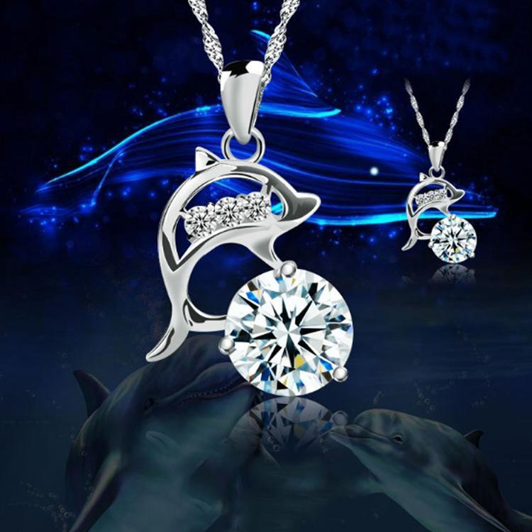 Fashion Jumping Dolphins Rhinestone Silver Plated Creative Pendant Necklace Without Chain NL-0551intothea-intothea