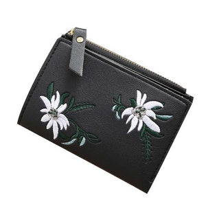 Women PU Leather Coin Purse Card Holder Wallet Embroidery Flower Mini Bagintothea-intothea