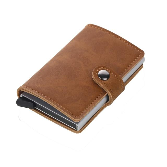 Men Minimalist Metal Slim Aluminum Wallet with Back Coin Pocket Cardintothea-intothea