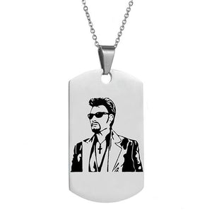 Personalized engrave punk rock Johnny Hallyday photo Necklace custom stainless steel Chainintothea-intothea