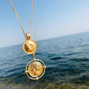 2018 Vintage Gold Color Carved Coin Necklace Figure Medal Long Chain Doubleintothea-intothea