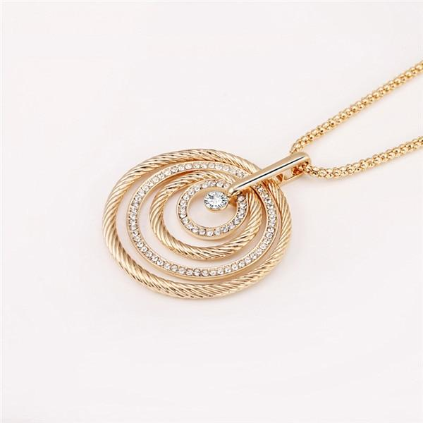 Big Circles Pendant Long Necklace CZ Crystal Gold Silver Colors Women Popcornintothea-intothea