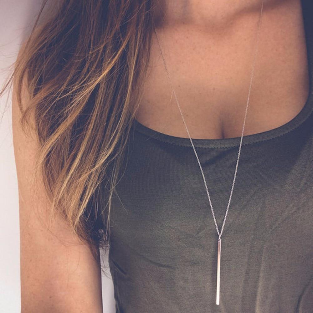 Simple Classic Fashion Stick Pendant Necklace Hollow Girl Long Link Chain Squareintothea-intothea
