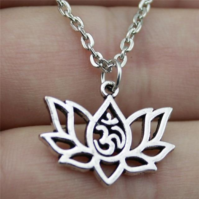 21x17mm Lotus Yoga Om Pendant Necklace Jewelry, Handmade Necklace Gift Forintothea-intothea