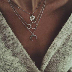 Vintage Multilayer Moon Map Necklace For Women 2018 Fashion Choker Statementintothea-intothea