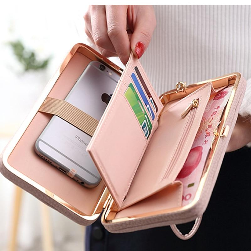 Bow Element Women Wallets With Cell Phone Pocket Card Holder Matte Leatherintothea-intothea