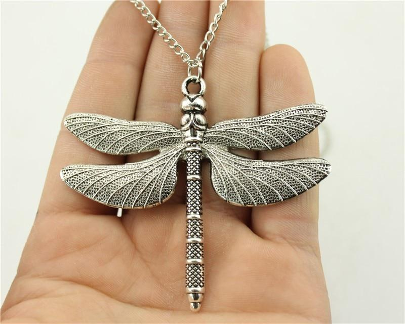 Fashion Antique Silver Color 63x71mm Big Dragonfly Pendant Necklace, 70Cm Chainintothea-intothea