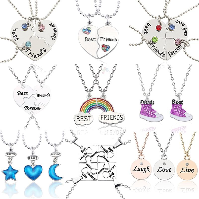 Best Friends Pendant Necklace Women Mixed Styles Puzzle Love Heart Star Moonintothea-intothea