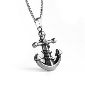 Classic Anchor Pendant Necklace Charm Male Stainless Steel Cool Necklace Retro Punkintothea-intothea