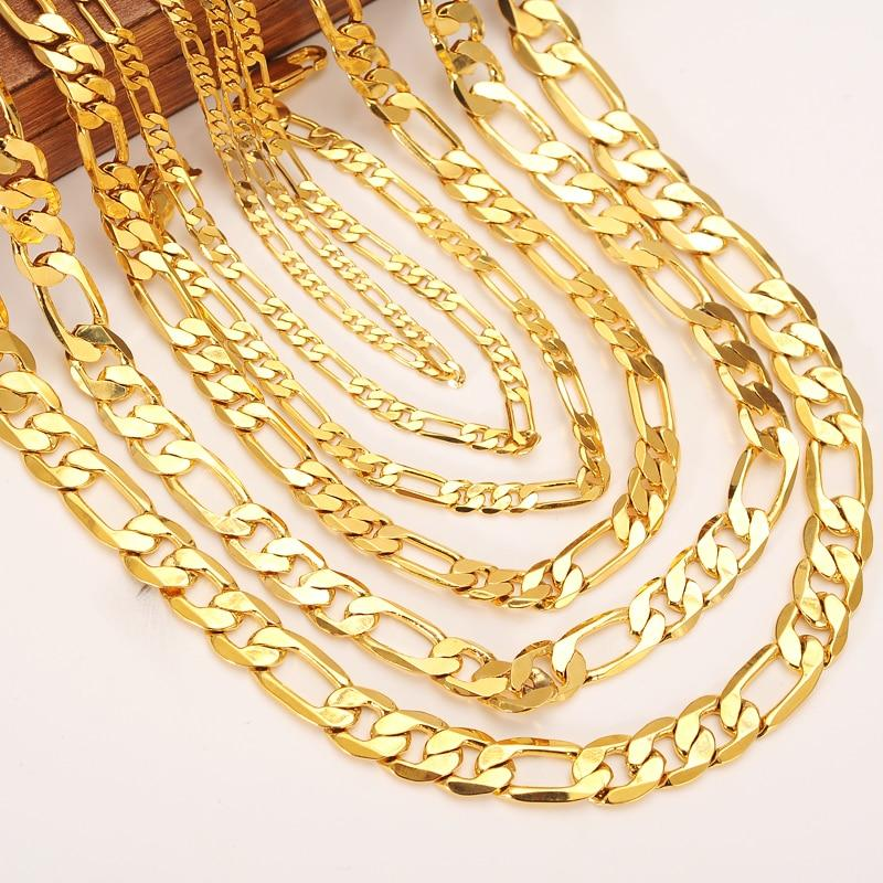 gold Men Chain Necklace Figaro Link necklace chain bracelet Gold Filled Womenintothea-intothea
