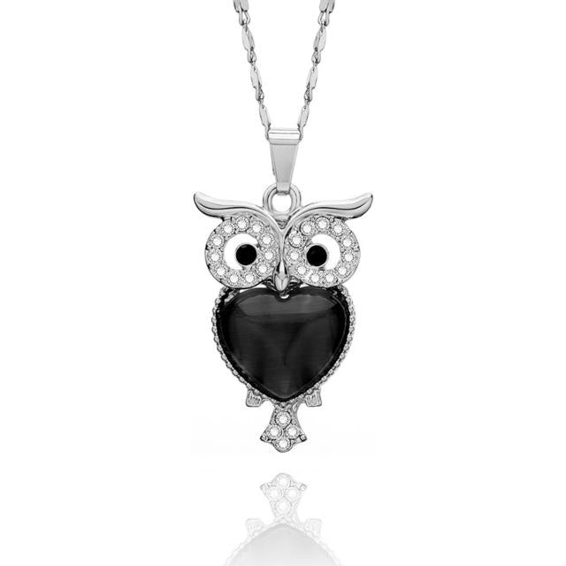 Women Necklace Small Cute Owl Pendant Rhinestone Sweater Chain Choker Necklaces Jewelryintothea-intothea