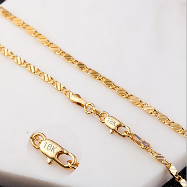 Hot sale New 2mm Slim Gold/Silver Color Man Necklace 40-75cm Chain jewelryintothea-intothea