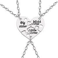 Trendy Puzzle Heart Necklace For Women Big Sis Little Sis 3 Sistersintothea-intothea