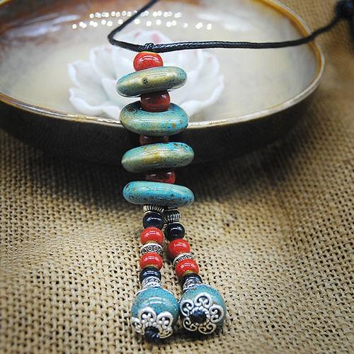 Bohemian Ceramic Beads Strand Necklace For Women Colorful Bead Long Tassel Pendantsintothea-intothea