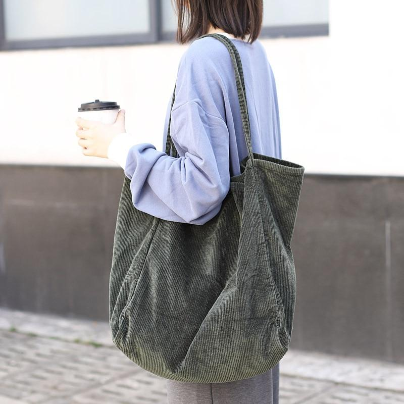 Big size shopping bag Fashionable corduroy canvas tote Simple retro artistic one-shoulderintothea-intothea