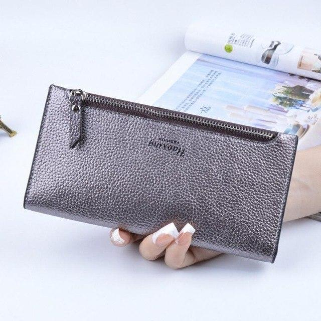 Hot Selling Purse Women Candy Color Brand Female PU Leather Long Thinintothea-intothea