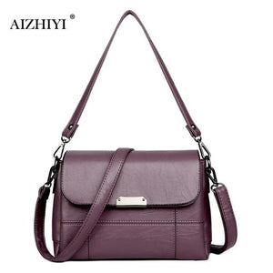 Women PU Leather Handbag Square Retro Solid Color Chain Crossbodyintothea-intothea