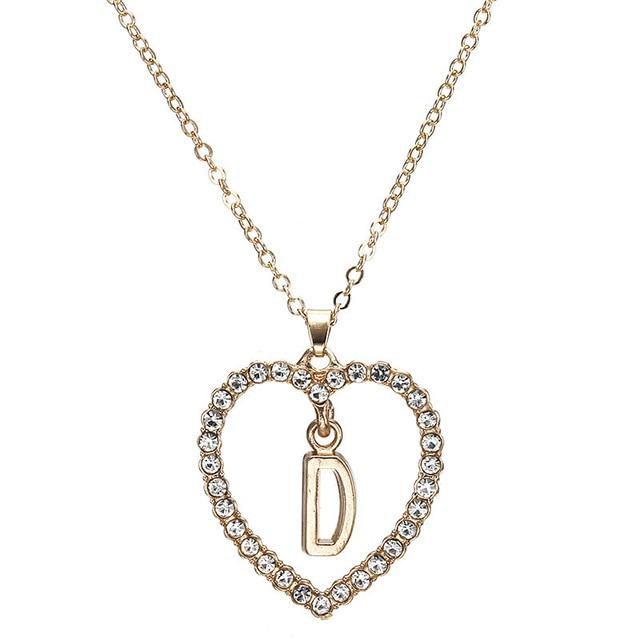 Romantic Love Pendant Necklace For Girls Women Rhinestone Initial Letter Necklace Alphabetintothea-intothea