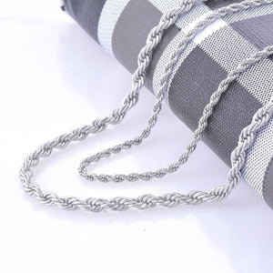 2mm and 4mm Stainless Steel Rope Chain Necklace Statement Swag 316L Stainlessintothea-intothea