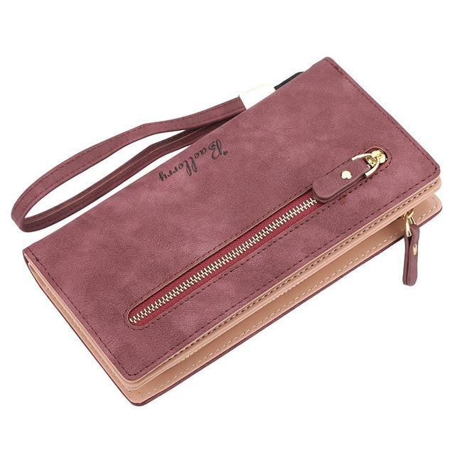 Casual Woman Purse Nubuck Leather Zipper Long Women Wallet Phone Bag Luxuryintothea-intothea